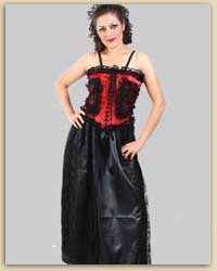 Black & Red Polyester Gothic Dress