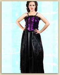 Black & Purple Polyester Gothic Dress