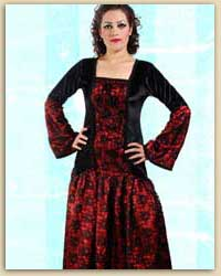 Red & Black Long Gothic Dress