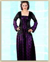Purple & Black Long Gothic Dress