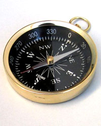 Solid Brass Open Face Pocket Compass