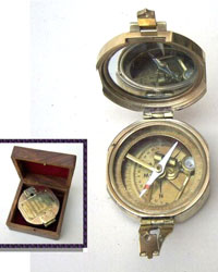 Solid Brass Brunton Style Explorers Compass (with Box)