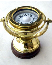 Solid Brass Gimball Compass on wood base