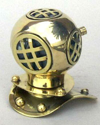 Reduced Size Brass Replica Diving Helmet