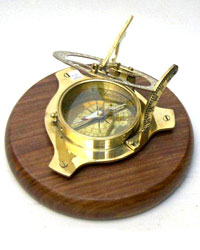 Sundial Compass (6inch) with Wood Base