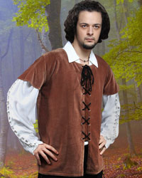 Medieval High-Quality Brown Cotton Velvet Pirate Vest
