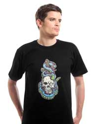 Skull with Blue Snake T-shirt