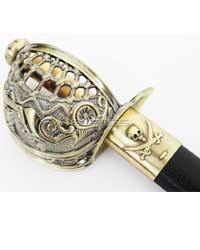 Mermaid Pirate Cutlass Sword w/ Basket Guard & Sheath