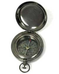 Brass Antique Finish Pocket Compass w/ Cover