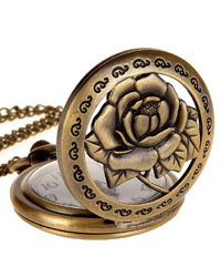 Steampunk Antique Case Elegant Engraved Rose Quartz Pocket Chain Watch Pendant Necklace (with Padded Box)