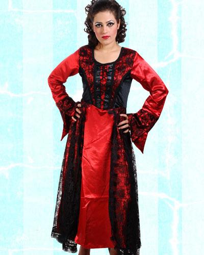 Pirate | Satin | Dress | Long | Red
