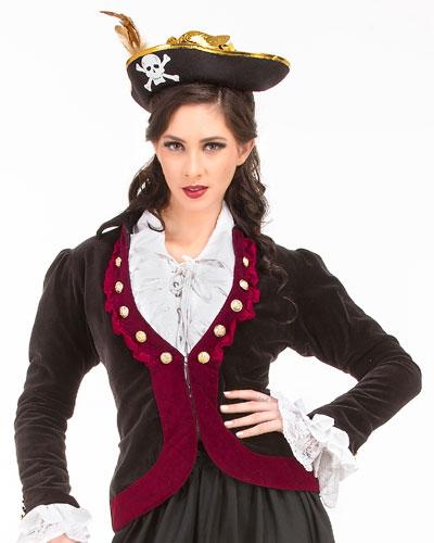 Women's Charlotte de Berry Privateer Velvet Costume Jacket - DeluxeAdultCostumes.com