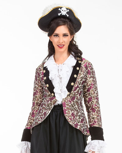 Women's Captain Loi Chai-san Floral Brocade Velvet Jacket - DeluxeAdultCostumes.com