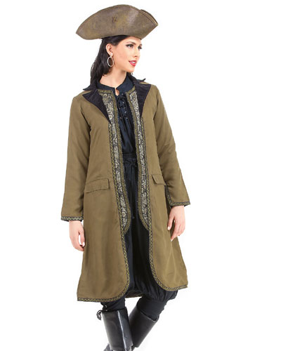Women's Pirate Period Costume Angelica Suede Coat with Vest Decoration - DeluxeAdultCostumes.com