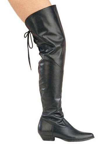 Black Over the Knee Thigh-High Genuine Leather Low-Heel Lady Pirate Boot - DeluxeAdultCostumes.com