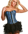 Blue Brocade Corset Set