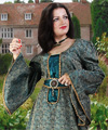 Courtly Green Brocade Dress
